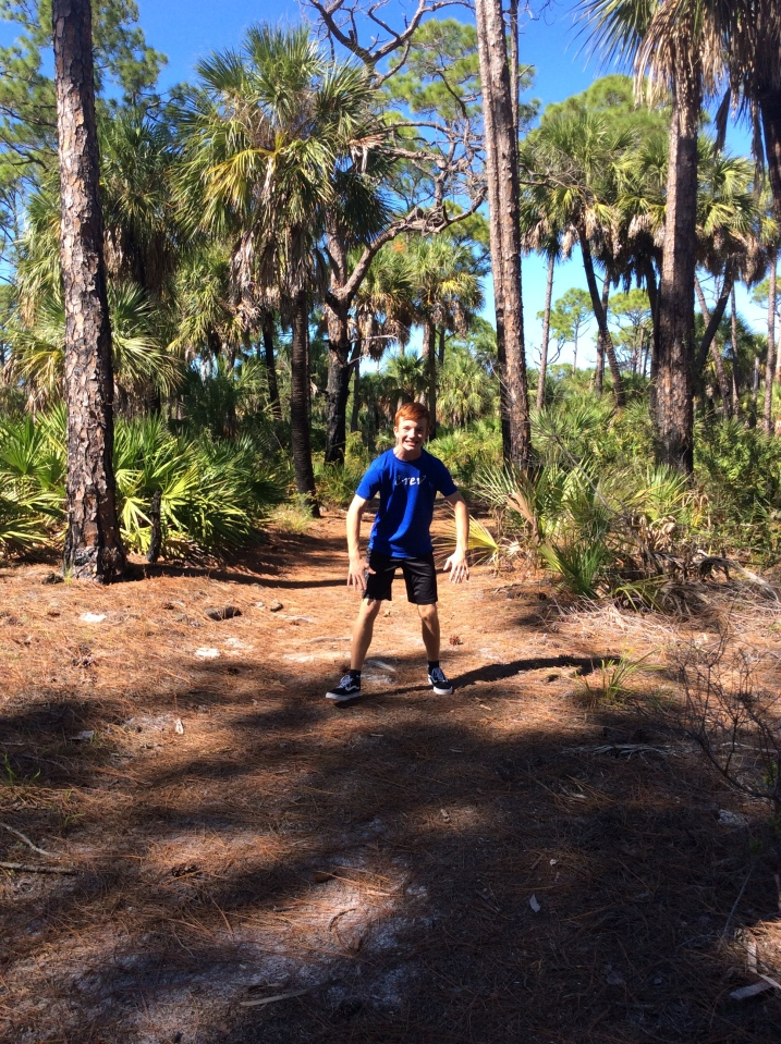 Ryan on the nature trail hike, Caladesi Island State Park (Nov. 2019)